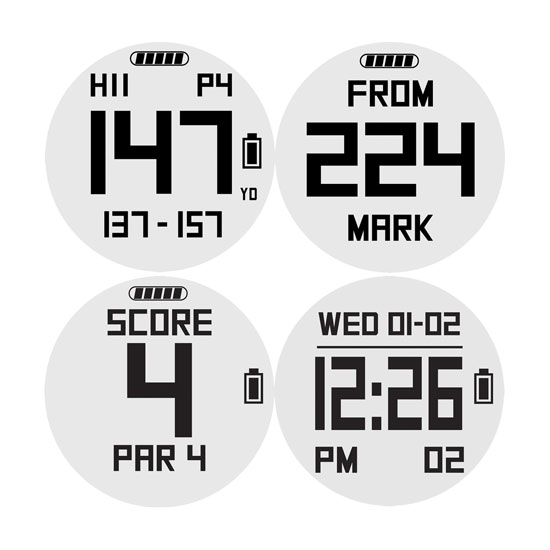 Some More Features include: Front/center/back of green distances, measure any shot (Mark Ball), digital scorecard, odometer, lap counter, calorie counter, clock, timer, alarm, and pace-of-play timer.