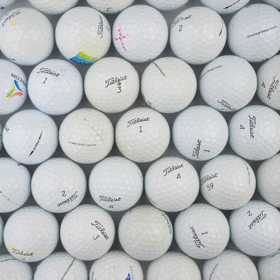Here is an un-retouched picture of examples of near-mint Pro V1's you may receive. Notice that while used, there is nothing that affects the integrity of the ball.